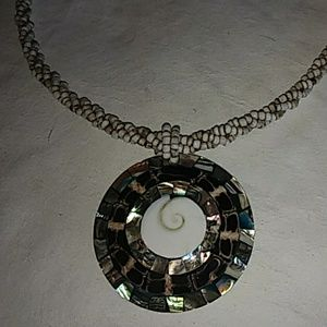 Beaded abalone pendant necklace Nice!
